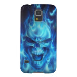 blue skull head with flames galaxy s5 cover
