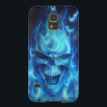 "blue skull head with flames galaxy s5 cover<br><div class=""desc"">blue skull head with flames</div>"