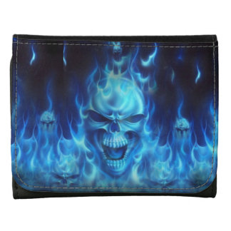blue skull head with flames leather tri-fold wallet