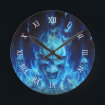 """blue skull head with flames round clock<br><div class=""""desc"""">blue skull head with flames</div>"""
