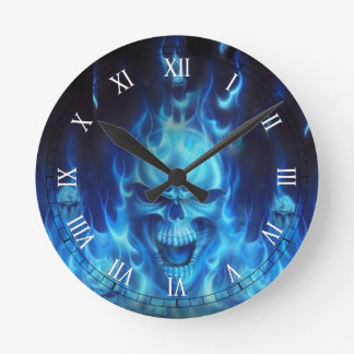 blue skull head with flames round clock