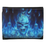 blue skull head with flames leather trifold wallets