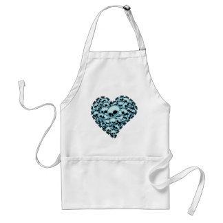 Blue Skull Heart Adult Apron