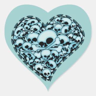 Blue Skull Heart Heart Sticker