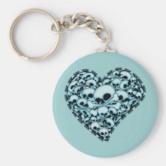 Blue Skull Heart Keychain
