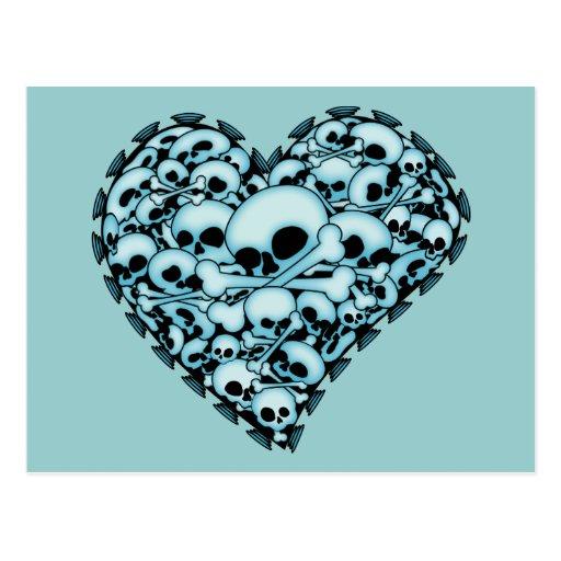 Blue Skull Heart Postcard