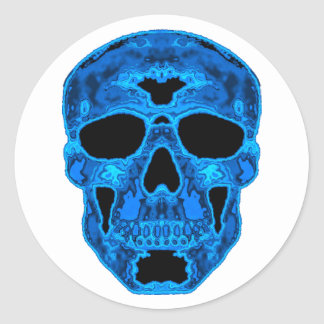 Blue Skull Horror Mask Classic Round Sticker