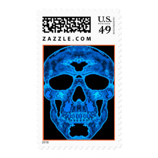 Blue Skull Horror Mask Postage Stamps