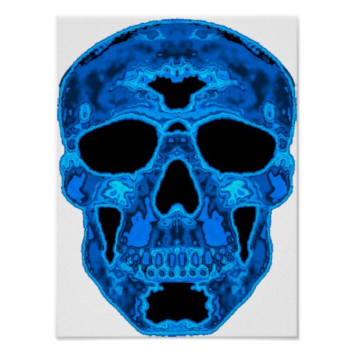 Blue Skull Horror Mask Poster