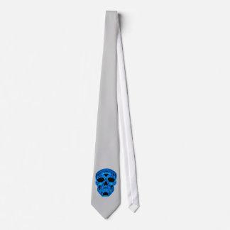 Blue Skull Horror Mask Tie