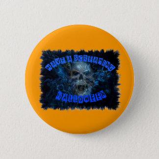 Blue skull on black pinback button