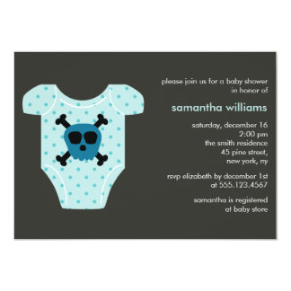 Blue Skull Outfit Boy Baby Shower Custom Invitation