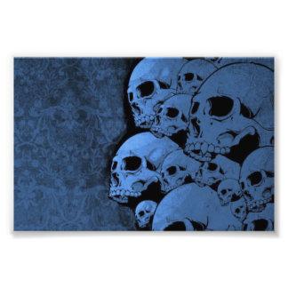 Blue skull pattern photo print