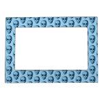 Blue Skull Pattern. Picture Frame Magnet