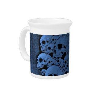 Blue skull pattern pitcher