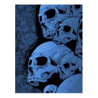 Blue skull pattern postcard