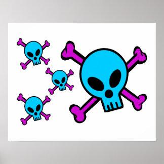 Blue Skull Pink Crossbones Print