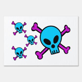Blue Skull Pink Crossbones Sign