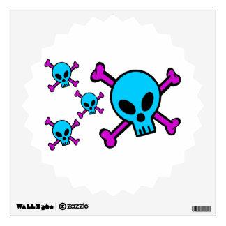 Blue Skull Pink Crossbones Room Graphic