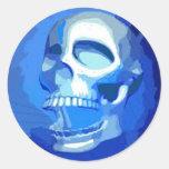 Blue skull round sticker