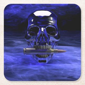 Blue Skull Square Paper Coaster