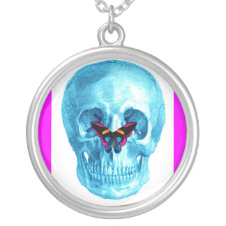 BLUE SKULL WITH BUTTERFLY NOSE PRINT ROUND PENDANT NECKLACE