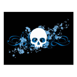 Blue Skull with Spatters and Swirls Post Cards