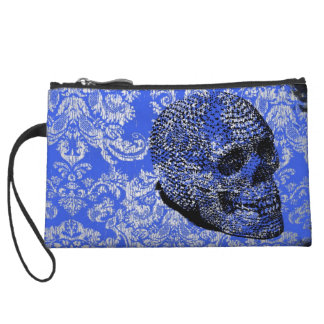 Blue Skull Wristlet Wallet