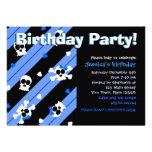 Blue Skulls and Hearts Birthday Party Invitations
