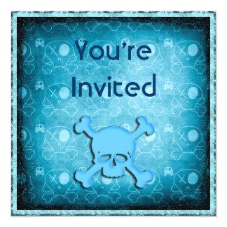 Blue Skulls, Black Glitter & Blue Jewels Invites