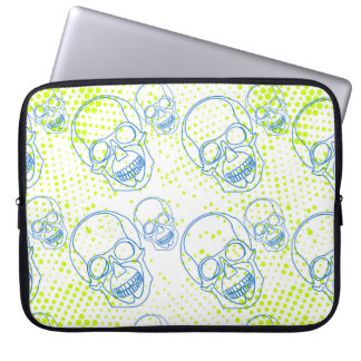 Blue skulls with bright green splashes laptop sleeve