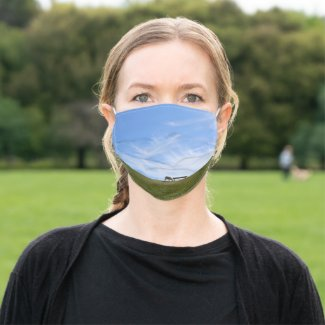 Blue sky above sheep on green dike Pellworm Adult Cloth Face Mask