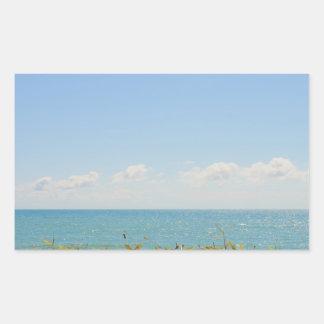 Blue Sky and Blue sea Peaceful Ocean Photography Rectangular Sticker