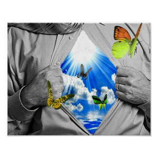 Blue  sky and Butterflys poster
