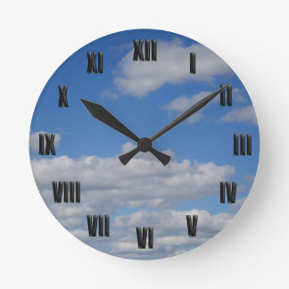 Blue Sky and Clouds - Black Roman Numerals Round Clock