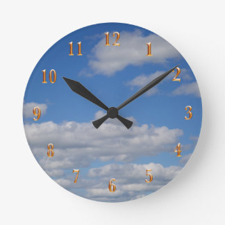 Blue Sky and Clouds - Gold Numbers Round Clock