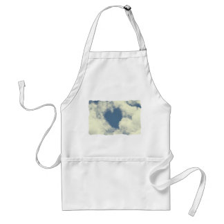 Blue Sky and Clouds Hearts Adult Apron