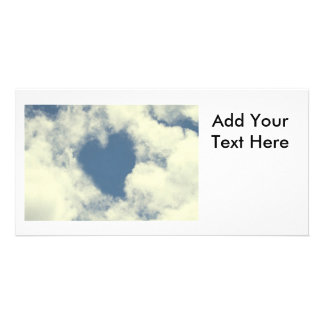 Blue Sky and Clouds Hearts Photo Card