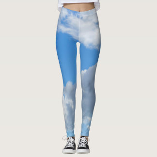 Blue Sky and Clouds Leggings