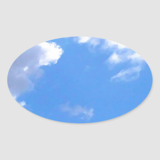 Blue sky and clouds oval sticker