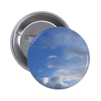 Blue sky and clouds pinback button