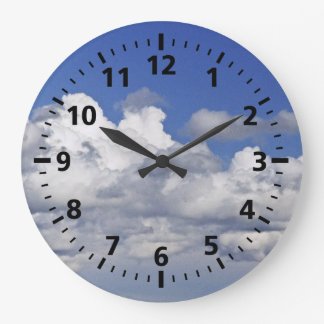 """""""BLUE SKY AND CLOUDS""""  ROUND CLOCK"""