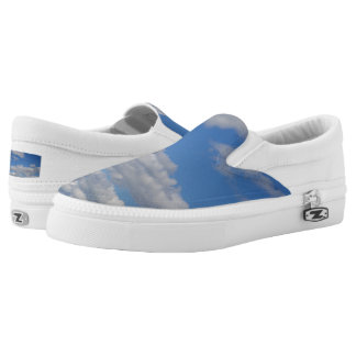 Blue Sky and Clouds Slip-On Sneakers