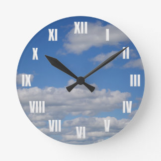 Blue Sky and Clouds - White Roman Numerals Round Clock