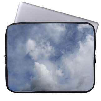 blue sky and cotton white clouds laptop sleeve