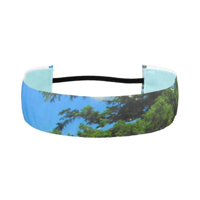 Blue Sky And Pine Tree Athletic Headbands