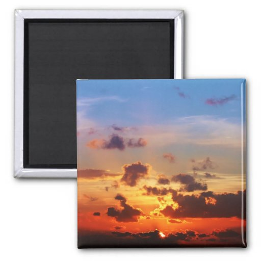 Blue Sky and Red Sunset 2 Inch Square Magnet