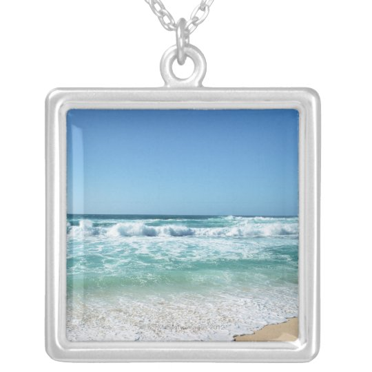 Blue sky and sea 18 silver plated necklace
