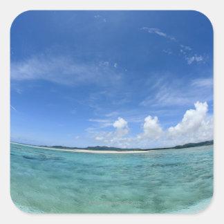 Blue sky and sea 3 square sticker