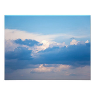 Blue Sky and White Clouds Heavenly Cloud Template Photo Print